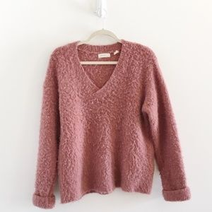 Anthropologie Mauve Pink Fuzzy Oversized Sweater
